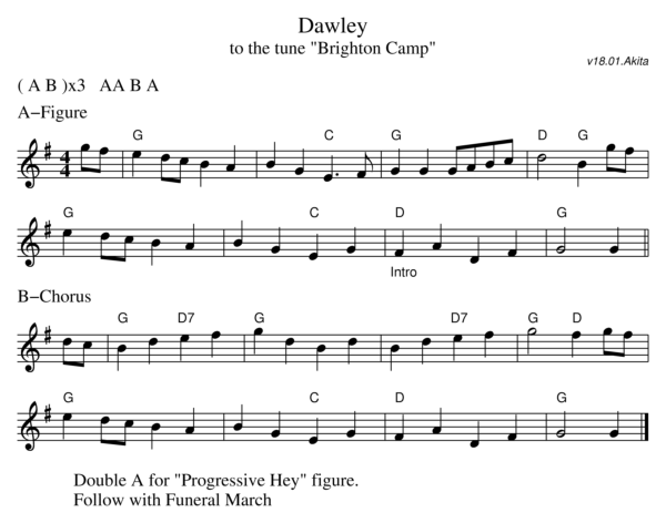 Sheet music for the dance Dawley