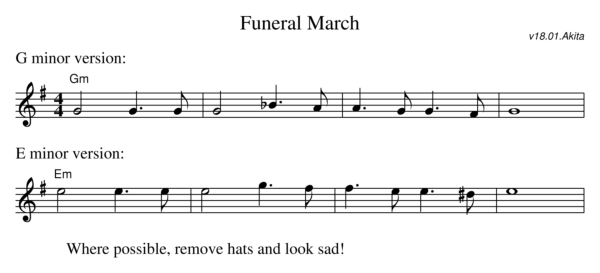 Sheet music for the Funeral Dance