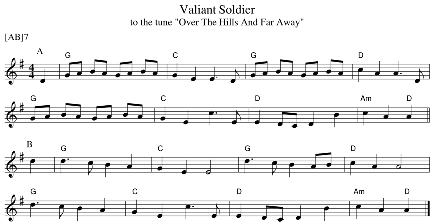 Sheet music for the dance Valiant Soldier